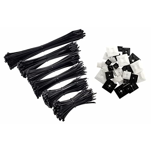 intervisio Lot de 600 Serre-Câbles Plastique, de 80 mm à 300 mm, Noir, Attache Cable Noir Lien Nylon Collier Rilsan + 50 Supports Auto-adhésif pour Colliers de Serrage Plastique