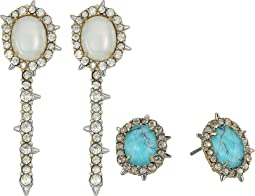 Crystal Encrusted Spike Studded Jacket Set Earrings