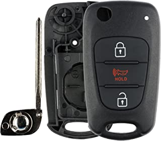 KeylessOption Keyless Entry Remote Uncut Blank Flip Car Key Blade Fob Shell Case Outer Cover for Kia