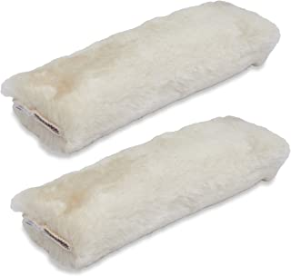 Andalus Authentic Sheepskin SeatBelt Cover, 2 Pack, Seat Belt Covers for Adults, Comfortable Driving, Genuine Natural Merino Wool (Pearl)