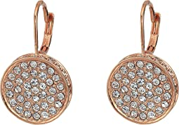 Rose Gold Pave Round Leverback Earrings