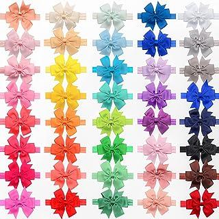 JOYOYO Baby Girls Headbands 40 Colors Pinwheel Hair Bows Elastic Headbands for Newborn Infants Toddlers