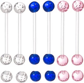 Set of 6 - Glitter Pregnancy Maternity Flexible Belly Button Ring Threaded Retainer - Nickel/Allergy Free - 14G - Clear, Pink, and Blue