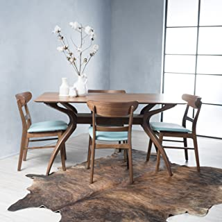 Christopher Knight Home Isador Mid-Century Design Natural Walnut Finish 5 Piece Dining Set (Mint)