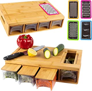 BRITOR Bamboo Cutting Board with 4 Containers, Large Chopping Board with Juice Grooves, Easy-Grip Handles & Food Sliding O...