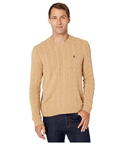 Polo Ralph Lauren Wool Cashmere Long Sleeve Cable Knit Sweater (Camel Melange) Men