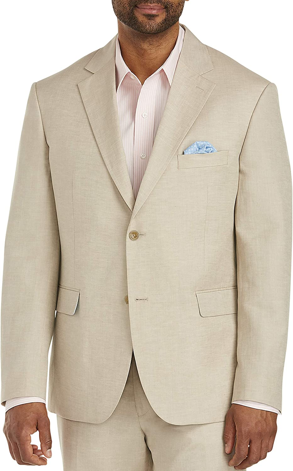 Oak Hill by DXL Big and Tall Jacket-Relaxer Linen-Blend Suit Jacket, Flax