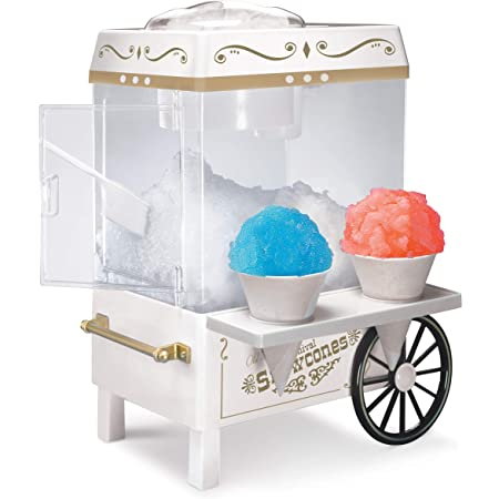 Nostalgia SCM525WH Vintage Countertop Snow Cone Maker Makes 20 Icy Treats, Includes 2 Reusable Plastic Cups & Ice Scoop – Ice White, 8 Oz
