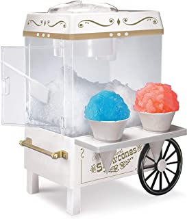 Nostalgia SCM525WH Vintage Countertop Snow Cone Maker Makes 20 Icy Treats, Includes 2 Reusable Plastic Cups & Ice Scoop – Ice White