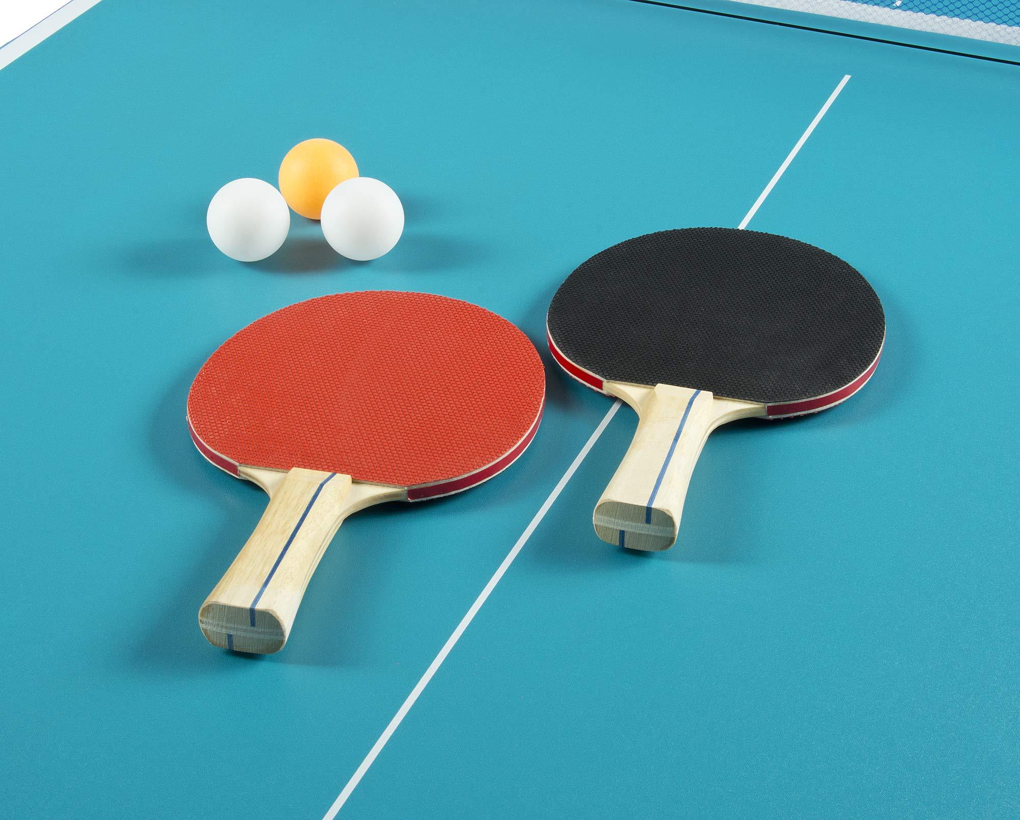 Leomark Compact Table Tennis Mesa de Ping-Pong, Plegable Exterior Portatil fácil Montaje y Transporte Pelotas y Raquetas, para Uso en Interiores, para Adulto y niños en Color Azul, 182,5x91x76cm (A): Amazon.es: Deportes