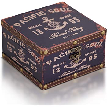 Brynnberg Caja de Madera 15x15x9cm - Cofre del Tesoro Pirata de Estilo Vintage - Hecha a Mano - Diseño Retro - joyero: Amazon.es: Hogar