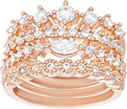 AUBREY LEE Cubic Zirconia Tiara Style 4 Piece Stackable Ring for Women Set in Rose Gold Plated Brass (Various Sizes)
