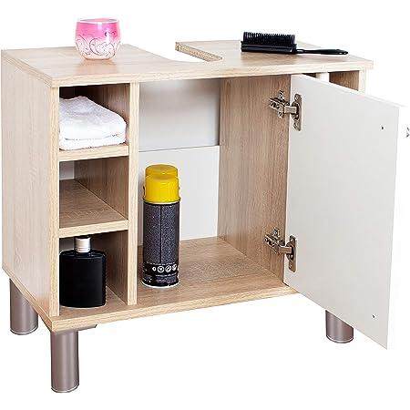 RICOO WM100-ES-W Mueble baño bajo Lavabo 60x54x32cm Armario Auxiliar pequeño Estantería Debajo lavamanos Toallero Madera Blanca y Roble marrón