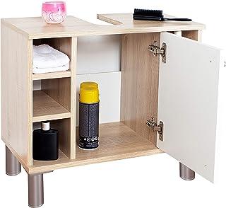comprar comparacion RICOO WM100-ES-W, Mueble baño bajo Lavabo, 60x54x32cm, Armario Auxiliar pequeño, Estantería Debajo lavamanos, Toallero, Ma...