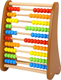Wooden Abacus Classic Counting Tool, Early Learning Develpmental Toy, Multi-Colored Beads, 10 Extensions, 100 Bead Abacus, Math Toy for Kids