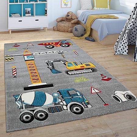 Paco Home Tapis pour Enfant, Tapis De Jeu pour Chambre d'enfant, Pelle Mécanique, Grue, Chantier, Gris, Dimension:80x150 cm