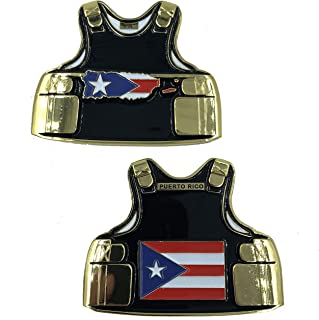 Puerto Rico Leo Thin Blue Line Police Body Armor State Flag Challenge Coins