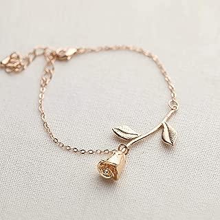 Mother's Day Gifts Rose Gold Rose Pendant Bracelet Beauty and the Beast Jewelry Rose Bracelet Bridesmaid Bracelet Gift Flower Girl Gift - 3MRBR (Rose Gold)