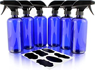 16oz Cobalt Blue PLASTIC Spray Bottles w/Heavy Duty Mist & Stream Sprayers and Chalkboard Labels (6-pack); PET #1 BPA-free, Use for Aromatherapy, DIY Cleaning, Kitchen, Hair Etc