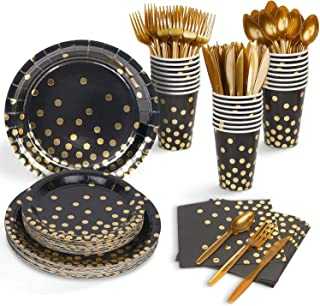 201 Pcs Serves 25 Heavy Duty Black Gold Disposable Party Supplies With Paper Party Plates, Napkins, Cups, Straws, Spoons, ...