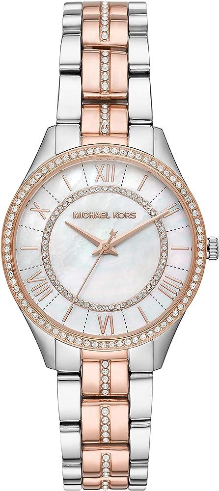 Michael kors orologio per donna,in acciaio inossidabile,lunetta con cristalli MK3979