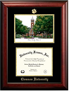Campus Images SC994LGED Clemson University Embossed Diploma Frame with Lithograph Print, 8.5