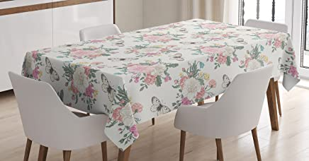 21522ce101 Ambesonne Shabby Chic Tablecloth Decor, Peonies Sweet Peas Roses Bouquet  and Butterflies Pastel Tones Bridal