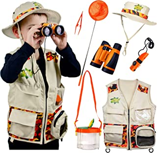 Safari Kidz Outdoor Adventure Set. Perfect Safari, Halloween, Hunting, Park Ranger Costume with Vest, Hat, Binoculars, Bug Net, Bug Container, Whistle, Flashlight, Magnifying Glass, Tweezers