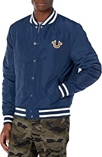 True Religion mens Nylon Varsity Crest Long Sleeve Jacket