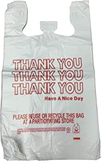 """HDPE Handled Plastic T-Shirt Bags, Grocery Bags, White with""""Thank You"""" Print, 11.5"""" x 6.5"""" x 21"""", 0.47 mil, 1/6 BBL - 1 case of 1000 Bags"""