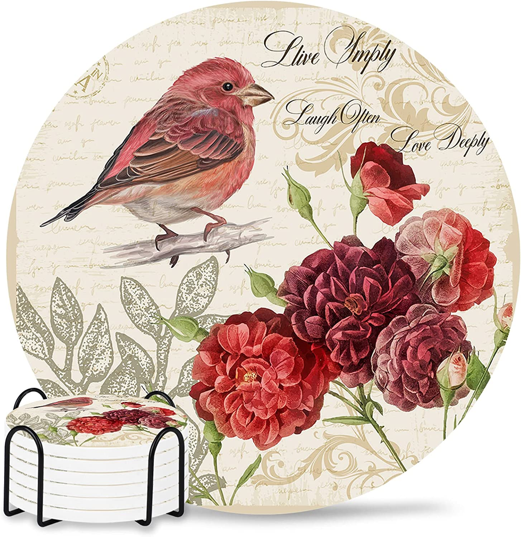 Flower Washington Mall Coasters for Drinks Absorbent Coaster Ceramic 6-Piece Se Super sale