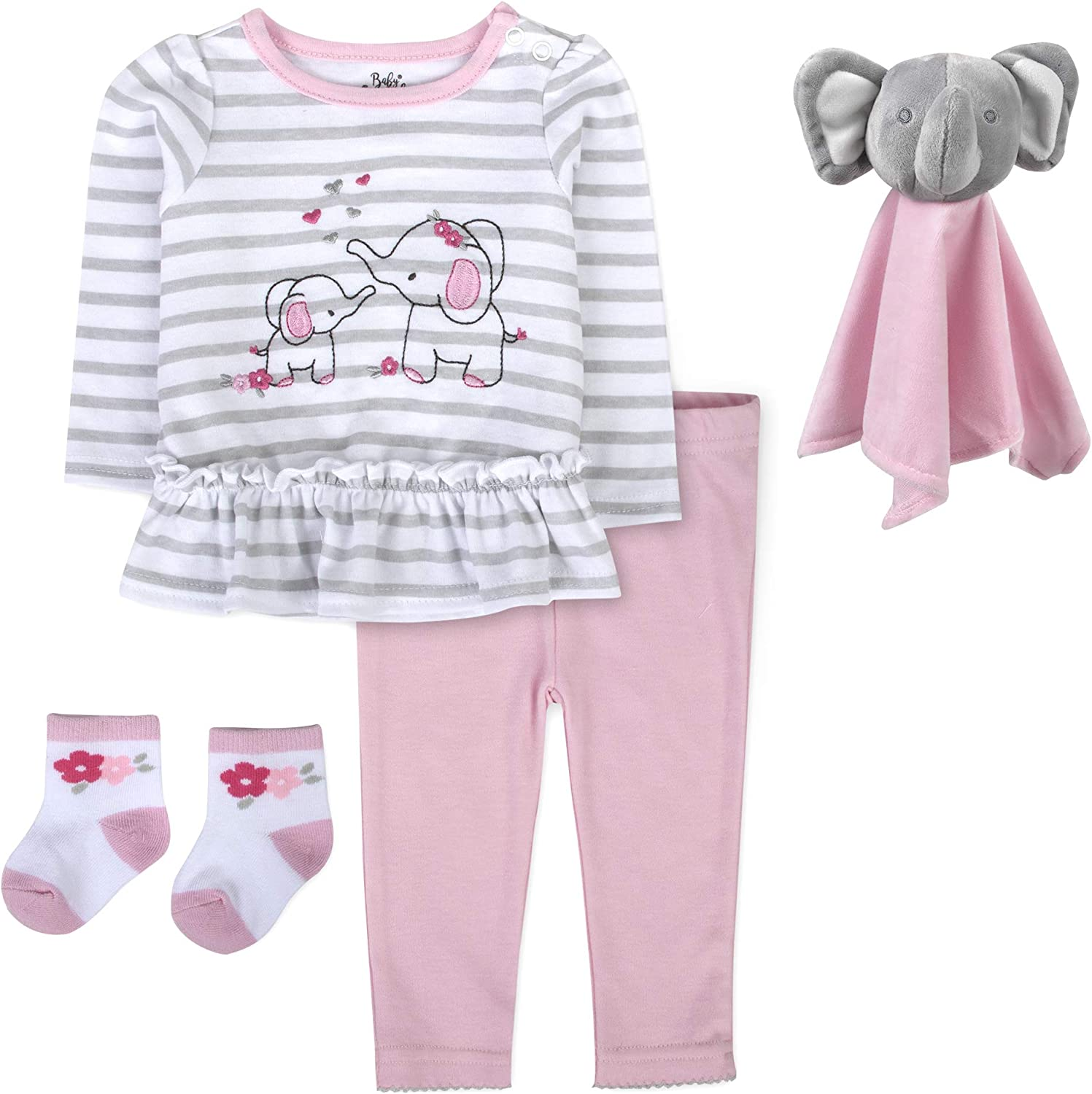 Take Me Home Outfit Baby Girl with Lovey Security Blanket, Baby Girl Shirt, Pants, Socks, 4 Pc Set 3-9 Months