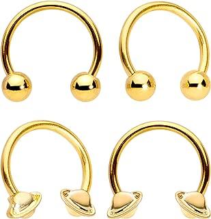 14G Nipplerings Piercing Gold Tone PVD Steel 2Pc UFO Saturn BCR Captive Nipple Ring Set 13mm