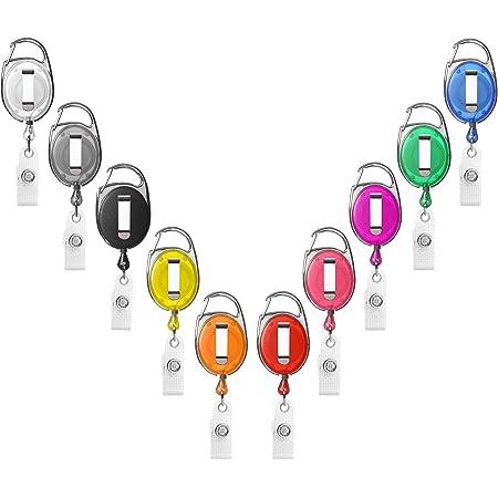 Porte-badge enrouleur Karteo® blanc   Enrouleur avec mousqueton, clip de ceinture   Pour porte-carte, porte-badge, clés   Mousqueton porte-clé avec clip en métal et boucle en vinyle