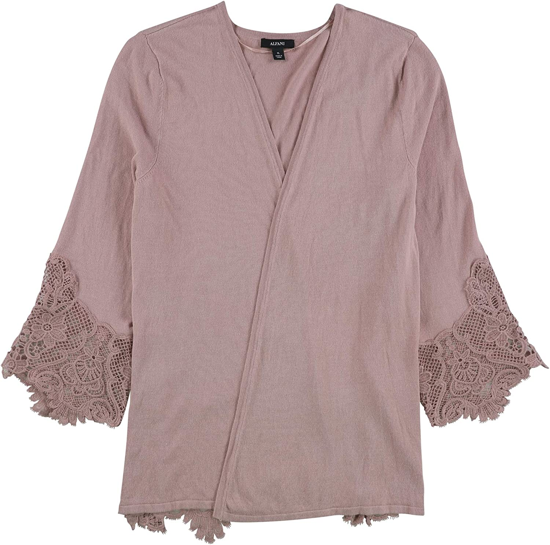 Alfani Womens Lace-Inset Open Front Cardigan Sweater