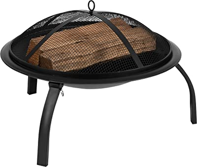 """Flash Furniture 22.5"""" Foldable Wood Burning Firepit with Mesh Spark Screen and Poker"""