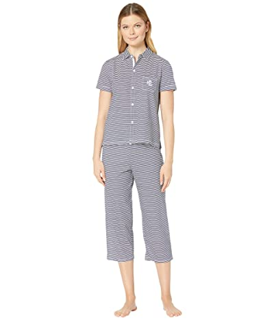 LAUREN Ralph Lauren Cotton Rayon Jersey Knit Short Sleeve His Shirt Capri Pants Pajama Set (Navy Stripe) Women