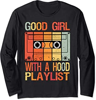 Good Girl with a Hood Playlist Vintage 90s Cassette Tape Long Sleeve T-Shirt