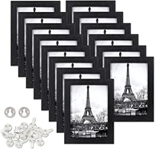 upsimples 5x7 Picture Frames Made of Composite Wood High Definition Glass for Wall or Tabletop Display,Black Photo Frame,14 Pack