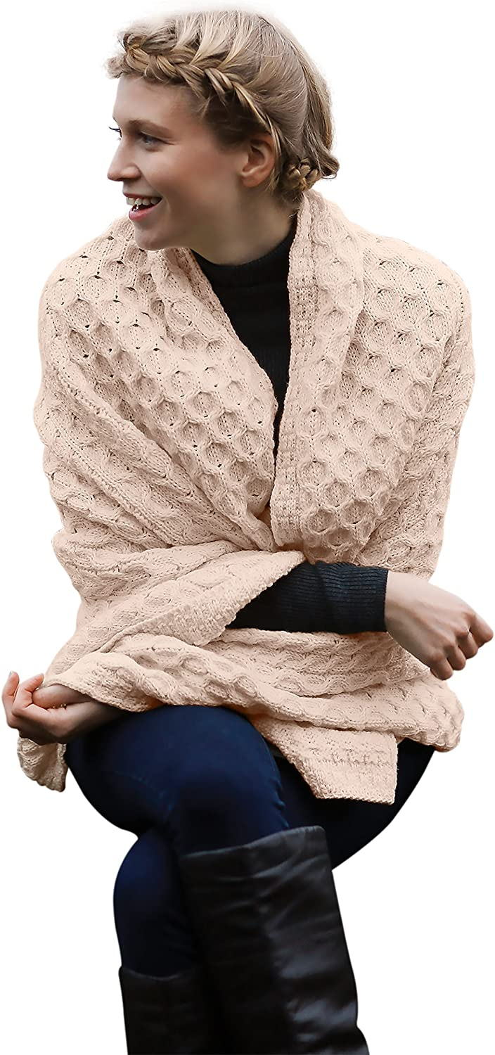 Carraig Donn 100% Wool Blanket with Honeycomb Knitted Design (Skiddaw)