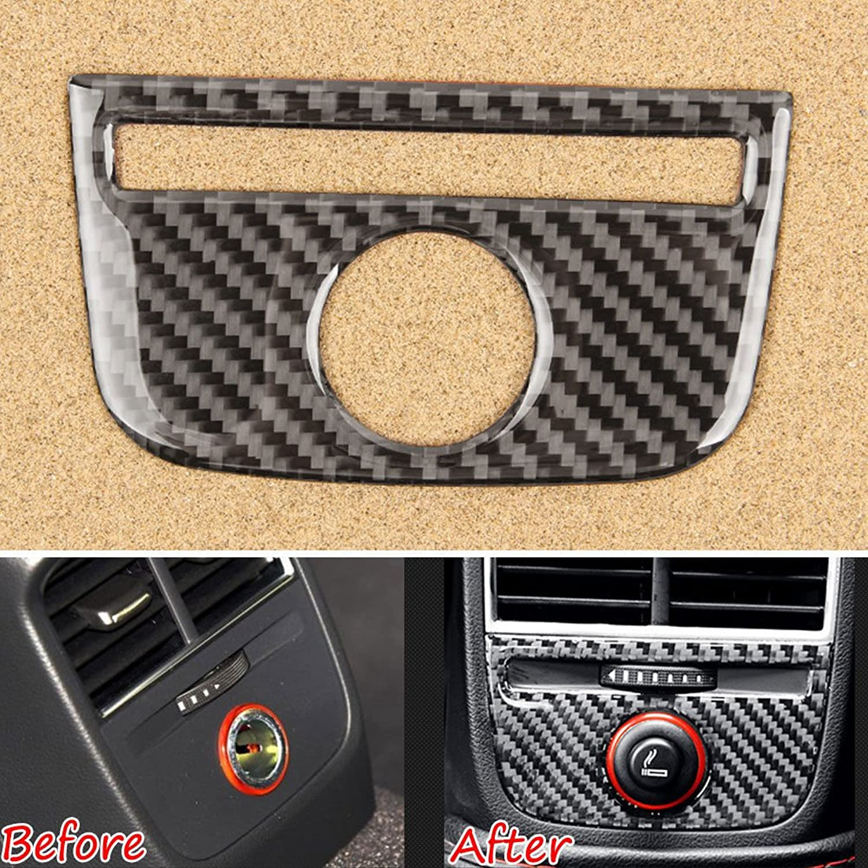 Zmond - 1x Carbon Fiber Car Rear Air Condition Vent Outlet Cover Trim Sticker for Audi A3 2014-2016 Car Styling
