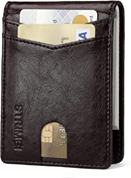 Minimalist Slim Front Pockets Folding Wallets for Men with RFID Blocking Credit Card Leather Wallet (Coffee)