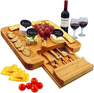 Bamboo Cheese Board & Cutlery Set with Slide-Out Drawer, 4 Stainless Steel Knife, Wood Platter & Serving Tray. Includes 3 Label & Chalk - Christmas Gift Idea, Thanksgiving, Wedding Day and Engagement