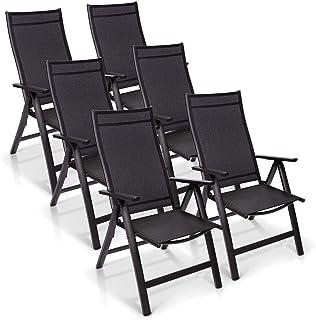 Sun Garden Premium Line Juego de 6 sillas de jardín - Respaldo Alto London en Antracita, Silla Plegable de Aluminio