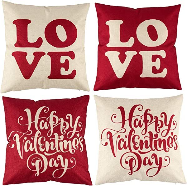 4 Pack 18 X 18 Christmas Santa Claus Reindeer Christmas Tree Pattern Throw Pillow Covers Cushion Case With Hidden Zipper For Xmas Holiday Sofa And Car Decorative Pillowcase Valentine S Day