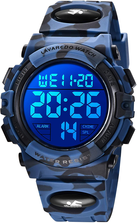 Reloj niños, Reloj Para Niños Digital Sport Multifunción Cronógrafo LED 50M Impermeable Alarma Reloj analógico Para Niños Con Banda De Silicona Militar