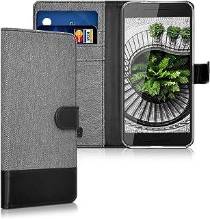 kwmobile Funda para Huawei Google Nexus 6P - Carcasa de Tela y Cuero sintético - con Tapa y Tarjetero Gris/Negro