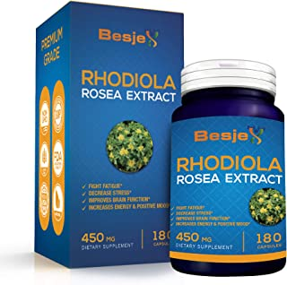 Rhodiola Rosea Root Extract - Herb Powder Natural Dietary Supplement with 3% Rosavins, 1% Salidroside - Boosts Energy, Mood, Focus, Brain Function & Stress Relief - 450mg (180 Capsules) by Besjex