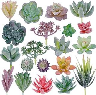 CEWOR 20pcs Artificial Flocked Succulent Plants for DIY Home Garden Arrangement Office Decoration