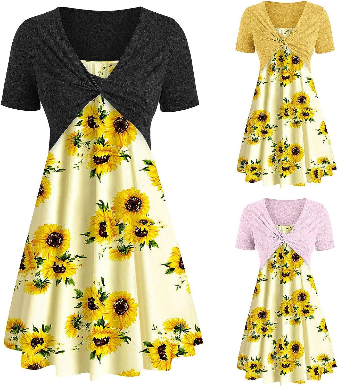 wlczzyn Summer Dresses for Women Sunflower Print Short Sleeve Bow Knot Casual Beach Sundress Swing Mini Dress Suit Dress